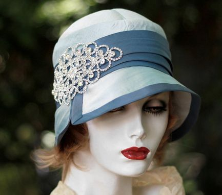 Custom Made Silk Cloche 1920s Hat With Rhinestone Enrichement