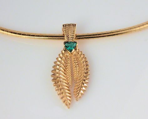 "Custom Made 14kt Yellow Gold Fern Pendant With Lab Grown Emerald And 16"" 14kt Yellow Gold Omega"