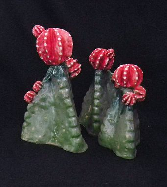 Custom Made Ceramic Sculpture Set Of 3 Cactus
