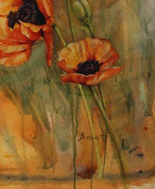 Custom Made Sold ~ Poppy Trio, Mixed Media Painting