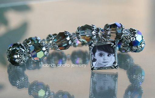 Custom Made Photo Bracelet With Black Diamond Crystals And Small Clear Crystals