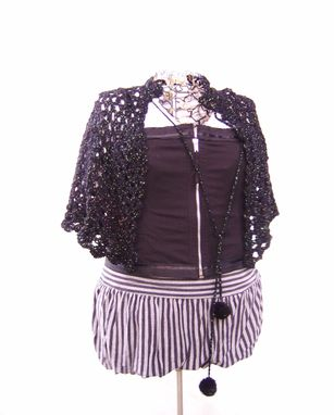 Custom Made Black Lace Wool Capelet
