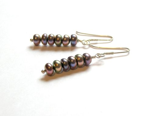 Custom Made Hues Of Peacock Pearl Sterling Silver Wire Wrapped Earrings