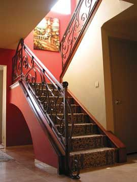 Custom Made Stair Railing, Hand-Forged Iron, Elegant Flowing Design