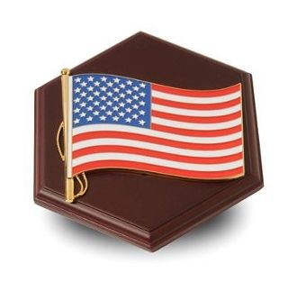 Custom Made Paperweight With American Flag Medallion