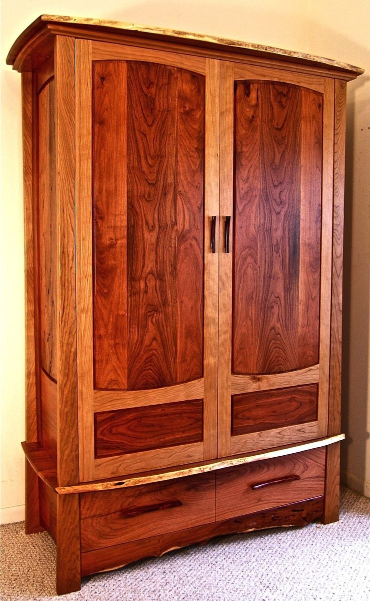 Custom Made Mesquite Amp Cherry Armoire By Louis Fry