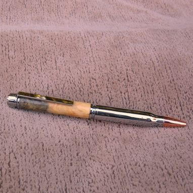 Custom Made 30 Caliber Bullet Wood Pen Of Buckeye Burl  B004