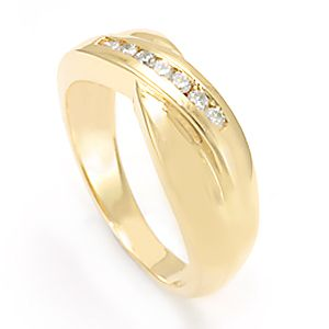 Custom Made Classy Diamond Band In 14k Yellow Gold, Wedding Band, Ladies Band