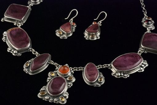 Custom Made Spiny Oyster Necklace And Earrings