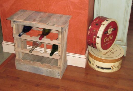 Custom Made Pallet Wood 12 Bottle Wine Rack Floor Or Counter Top Rustic Reclaimed Wine Stave, Wine Storage