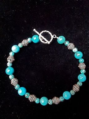 Custom Made Genuine Turquoise And Silver Bead Bracelet