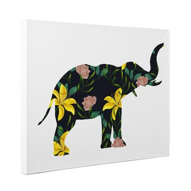 Custom Made Floral Elephant Canvas Wall Art