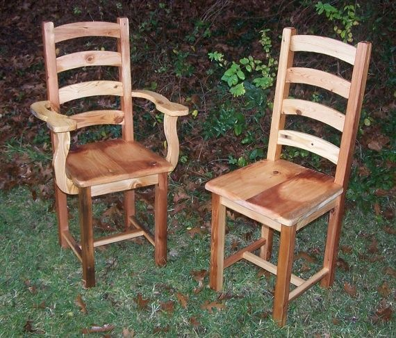 Arched Slat Yellow Pine Dining Room Chairs