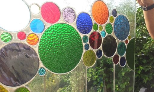 "Custom Made Stained Glass Window-  ""Bubbles Path"" (W-32)"