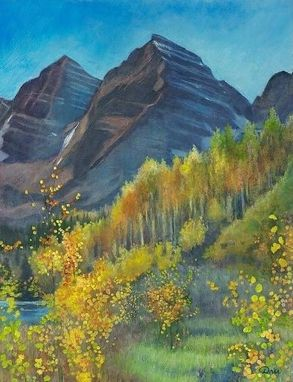 Custom Made Maroon, Gold And Copper (Colorado Fall) Oil Painting - Fine Art Print On Paper (14 1/4