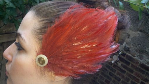 Custom Made Sale Cinnamon Brown Feather Hair Fascinator With Vintage Button, Ready To Ship