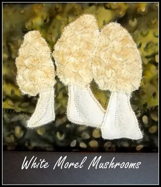 Custom Made White Morel Mushrooms Quilt In Small Dark Frame