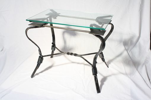 Custom Made Glass Top End Table