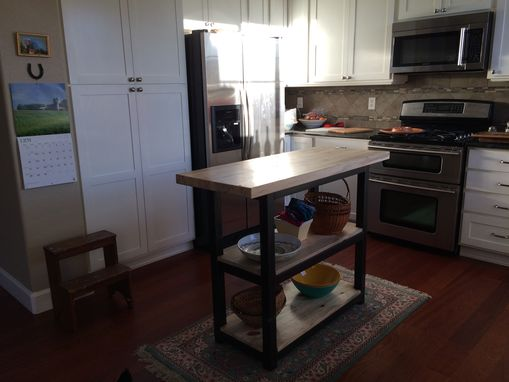 Custom Made Kitchen Island - Steel And Bluestain Pine - Made In Colorado