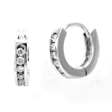 Custom Made Diamond Hoop Earrings In 14k White Gold, Hoop Earrings, Diamond Earrings