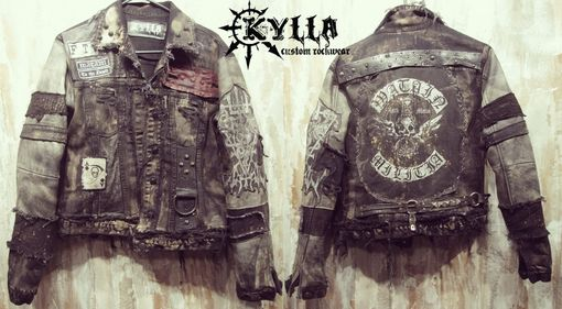 Custom Made Custom Jacket Rock Metal Punk Stage Rockstar Leather Denim