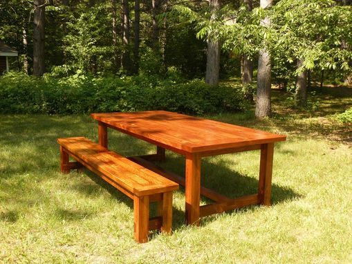 Custom Made White Pine Farmhouse Style Dining Table And Bench