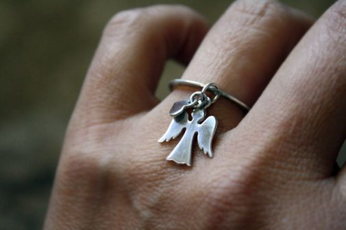 Custom Made Sterling Silver - Angel Charm Ring