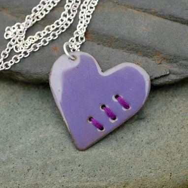 Custom Made Mended Enamel Heart Pendant Necklace Copper Enameled Jewelry Sewn Purple