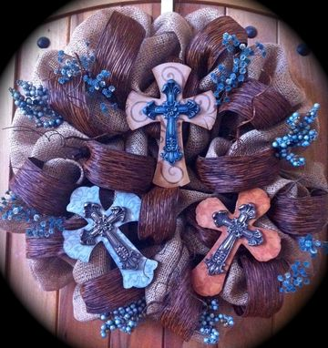Custom Made Rustic Crosses On A Burlap Wreath