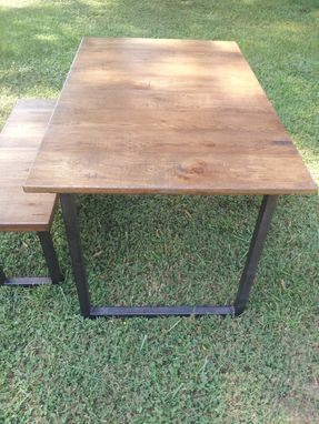 Custom Made Reclaimed Wood Table And Bench With Steel Legs
