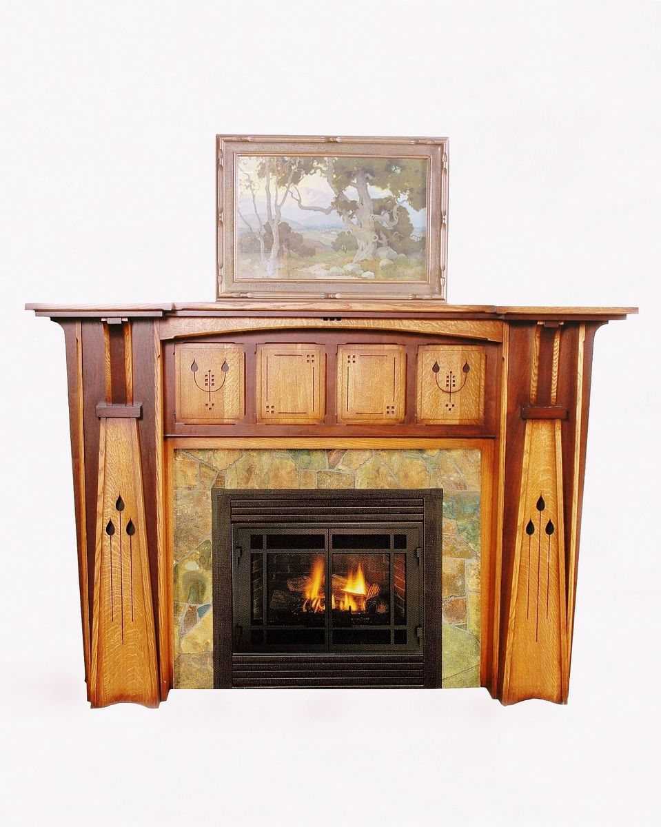 Handmade Arts Crafts Style Fireplace Mantel By Red Poppy Studios Cust