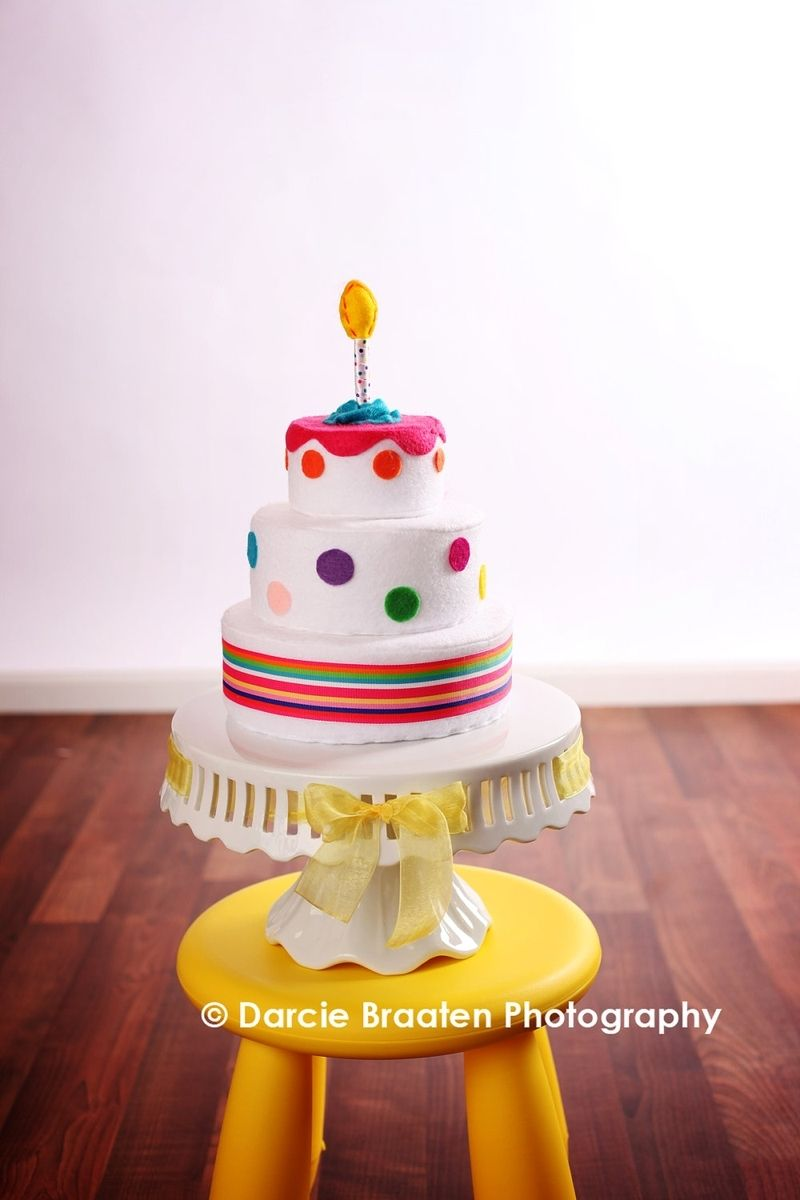 Phenomenal Hand Crafted Three Tier Felt Birthday Cake With Polka Dots And Funny Birthday Cards Online Fluifree Goldxyz