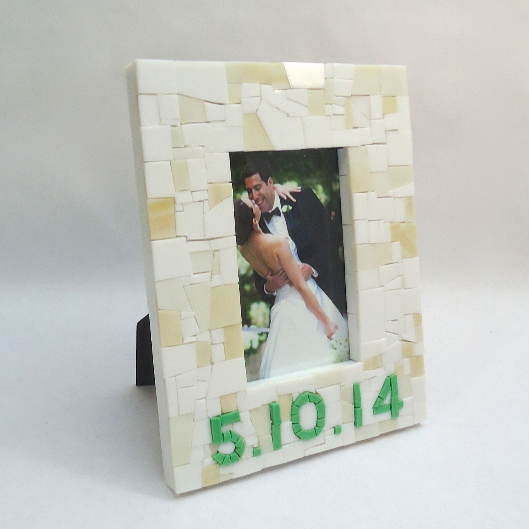 Buy a Handmade Mosaic Date Frame In White And Green, made to order ...
