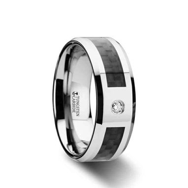 Custom Made Cayman Tungsten Carbide Ring With Black Carbon Fiber And White Diamond Setting With Bevels - 8mm