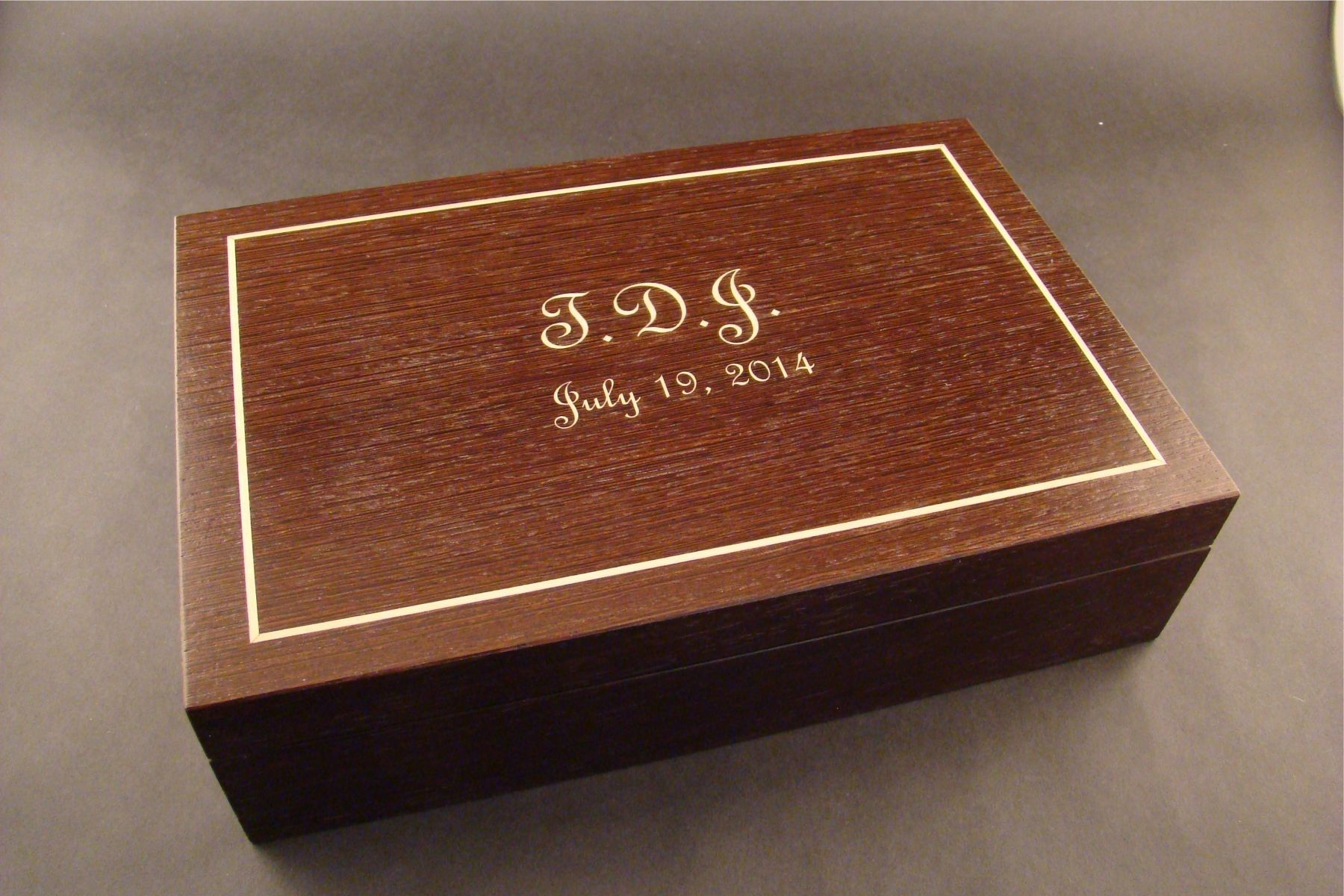 Custom Engraved Wood Jewelry Box In Wenge