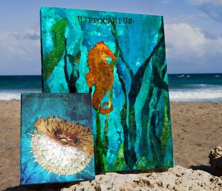Custom Made Blowfish / Pufferfish - Mixed Media Giclee From The Sea Of Serenity Series