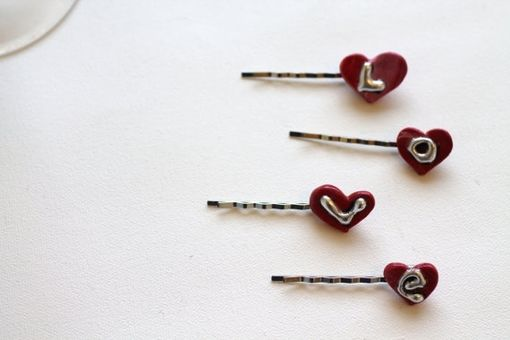 Custom Made Teeny Tiny Heart Hair Pins, Valentines Day Hair Clip