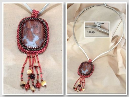 Custom Made Beaded Coral And Grey Jasper Pendant With Fringe