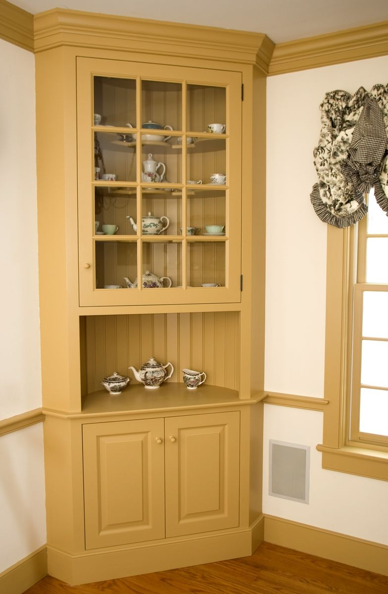 Custom made painted colonial style corner cabinet by maple for Corner cabinet