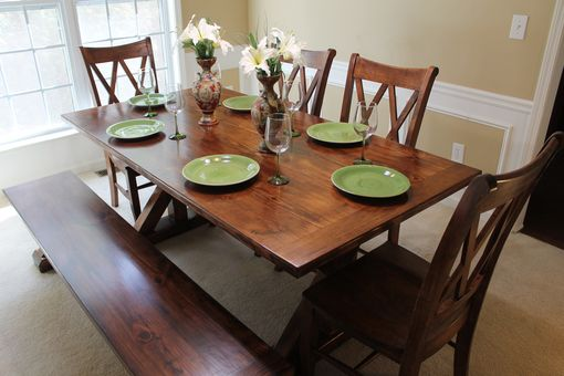 "Custom Made ""Bogart"" Farmhouse Trestle Dining Table"