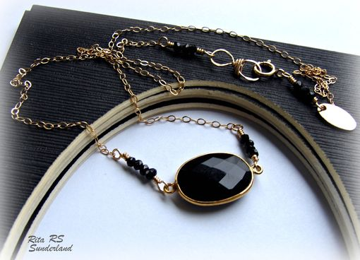 Custom Made Necklace Black Garnet 14k Gold Filled