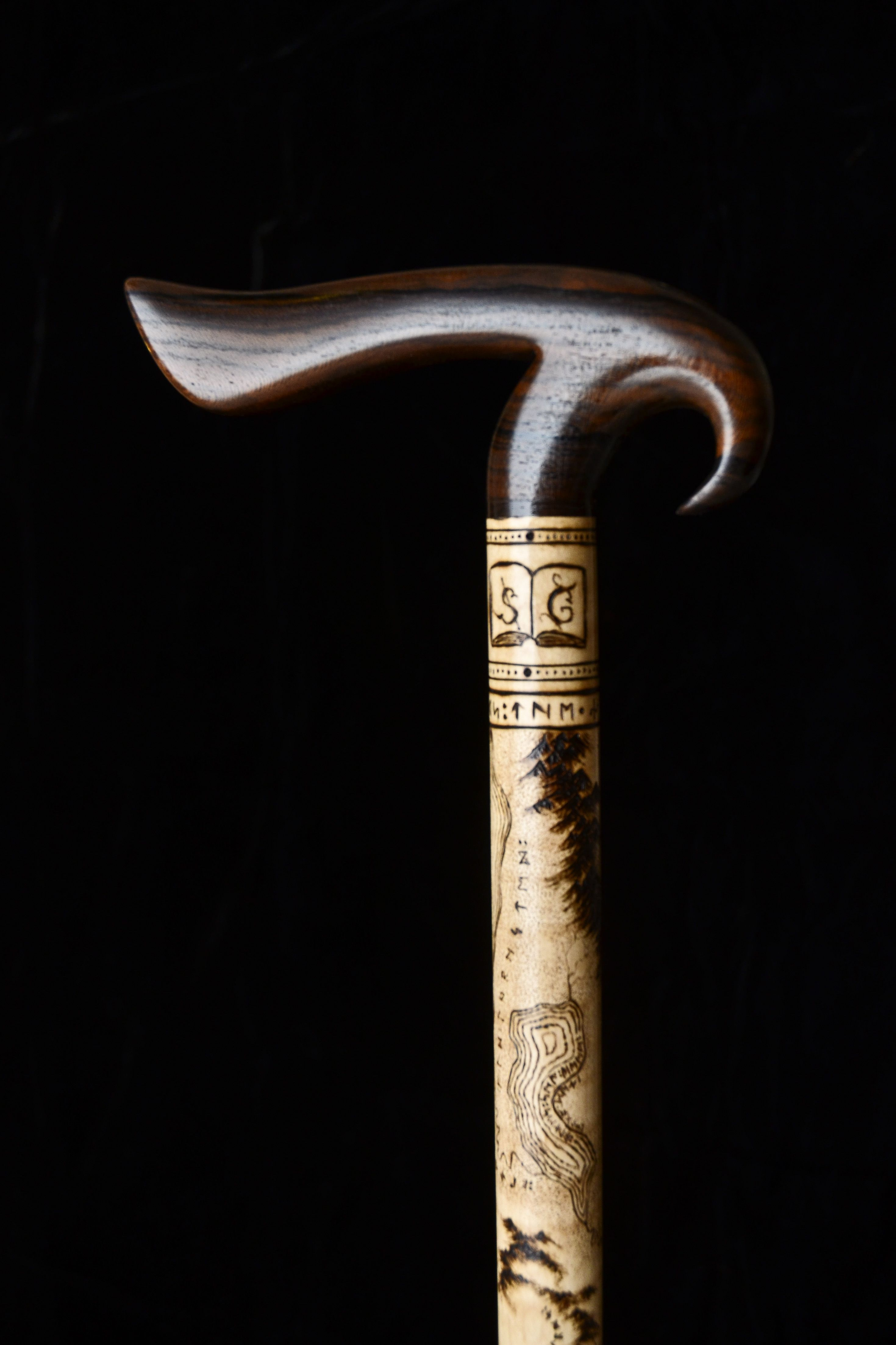 Custom Made Bird Inspired Cane With Map Pyrography By