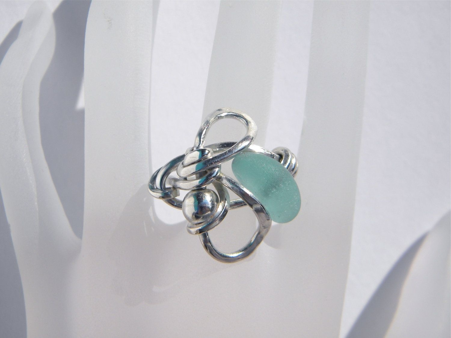 Custom Argentium Silver Wire Wrapped Ring With Aqua Sea Glass by ...