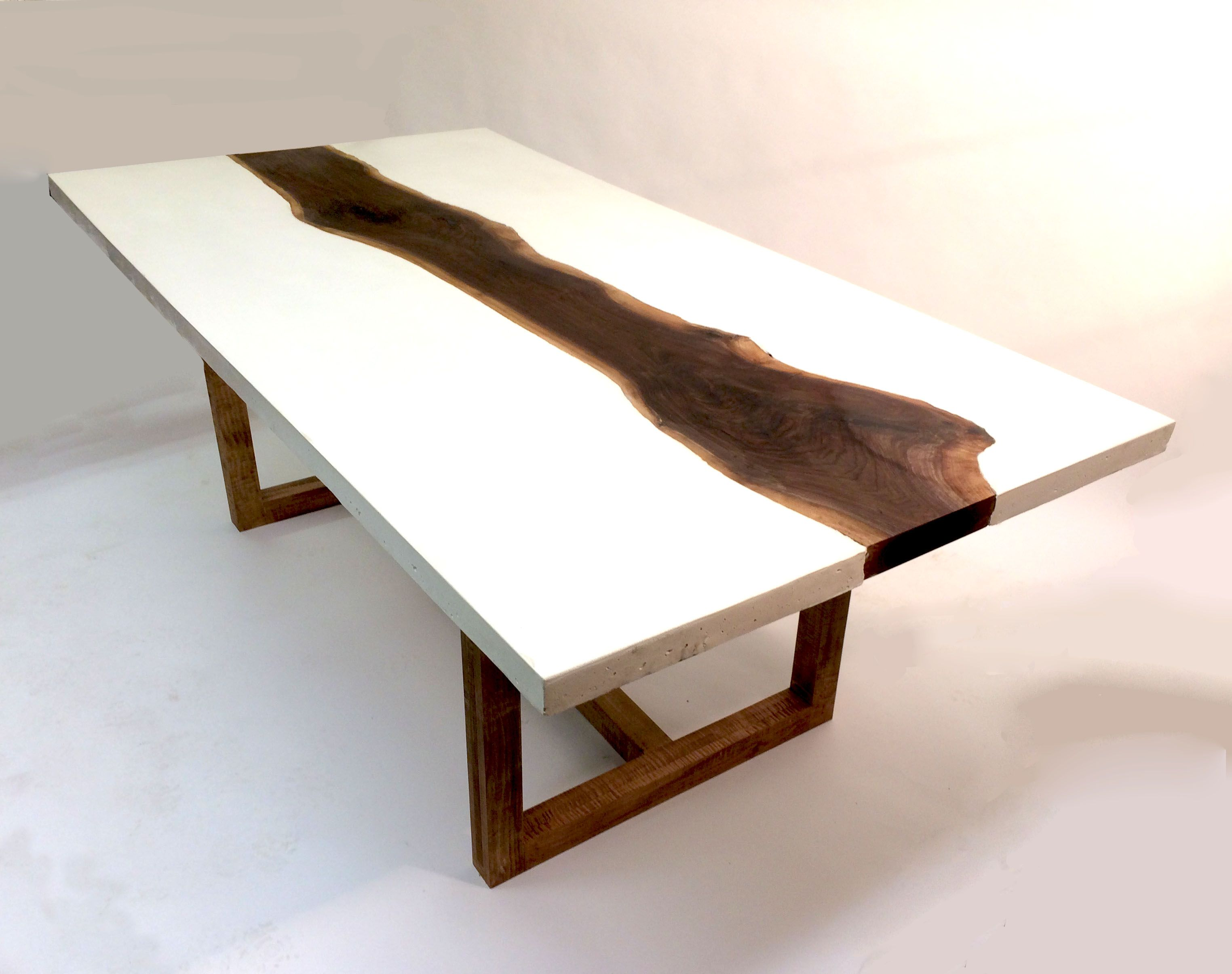 Custom Made White Concrete And Walnut Dining Or Coffee Table
