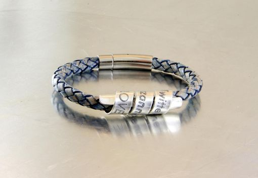 Custom Made Men's Personalized Antique Blue Double Wrap Bracelet, Engraved Bracelet