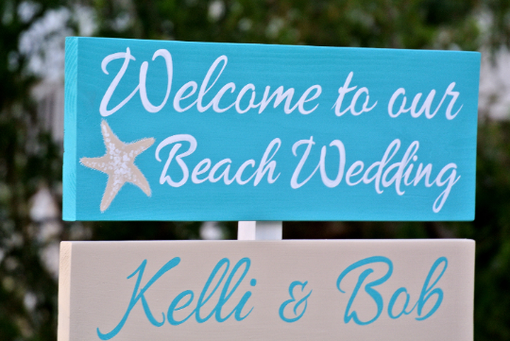 Custom Made Beach Wedding Welcome Sign, Turquoise Tropical Wedding Direction Signs