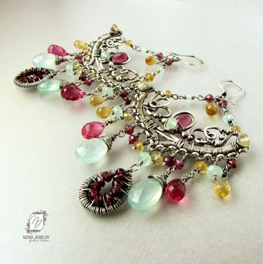 Custom Made Sterling Silver Chandelier Earrings, Pink Quartz, Sea Foam Green Chalcedony, Garnets, Citrine