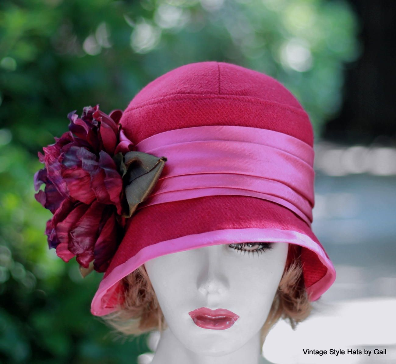 40a1ce532 Buy a Handmade Couture Raspberry Wool Warm Fall Winter Cloche Hat In ...