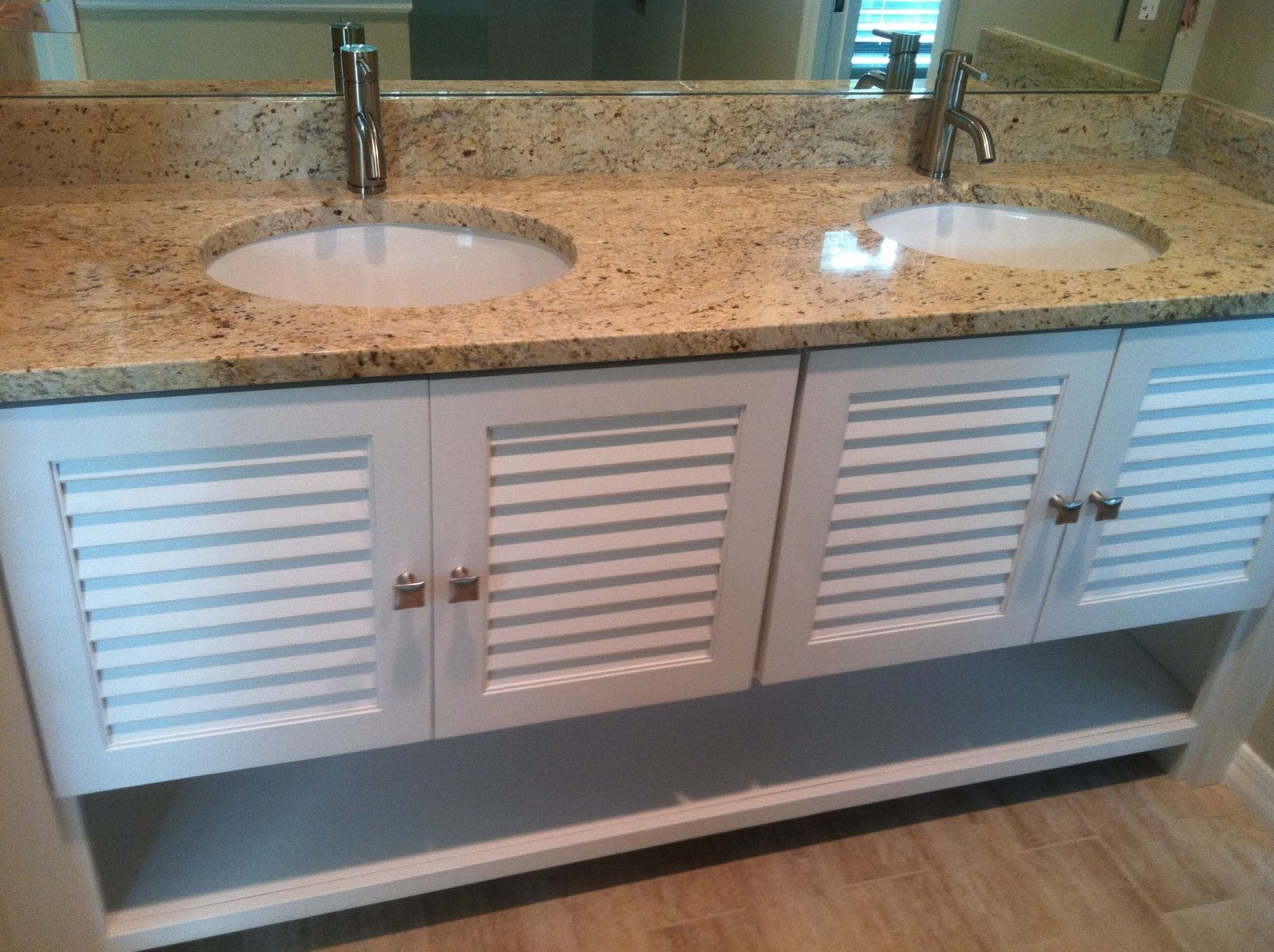 Hand Crafted Louver Door Vanity by Borders Woodworks | CustomMade.com