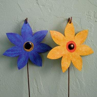 Custom Made Handmade Upcycled Metal Flower Garden Stakes In A Set Of Two